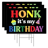 Tees & Tails Honk It's My Birthday Lawn/Yard Sign Set of 3 Double Sided Quarantine Birthday Signs (3 Stakes Included)