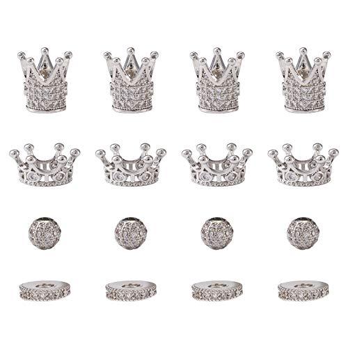 PandaHall 16 cuentas planas redondas de circonio cúbico con forma de corona de rey chapada en platino, cuentas sueltas para manualidades, pulseras, collares y bisutería.