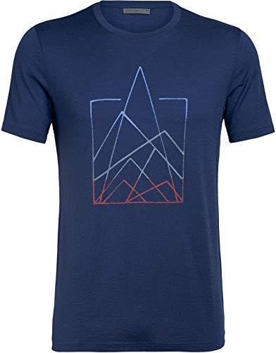 Icebreaker Tech Lite 7 Pinnacles T-Shirt Col Ras-du-Cou Homme, Estate Blue Modèle S 2020 T-Shirt Manches Courtes