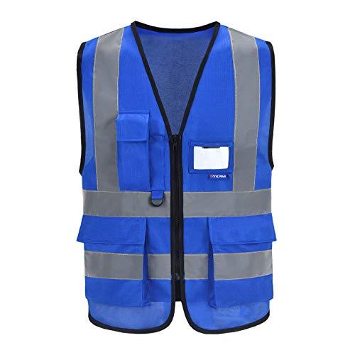 Sicherheitsweste blau Unisex Hohe Sichtbarkeit Warnweste Reflektierende Weste Reißverschluss (XL, Blau)
