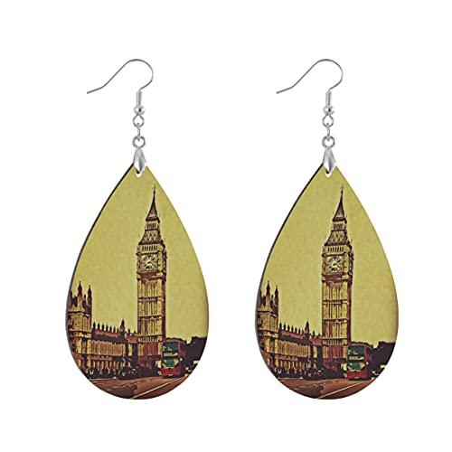 1 par de pendientes de madera con forma de gota de agua de Londres Big Ben Clock Vintage Pendientes de madera pintados para mujer, Leaf drop, Madera Cobre Plata,