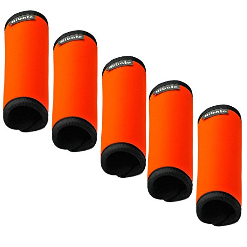 Hibate Comfort Neoprene Luggage Handle Wrap Grips - Fluorescent Orange, Pack of 5