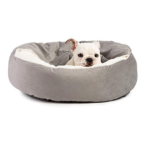 Best Friends by Sheri Cozy Cuddler Luxury Orthopedic Dog and Cat Bed with Hooded Blanket for Warmth and Security - Machine Washable, Water/Dirt Resistant Base - Jumbo Grey