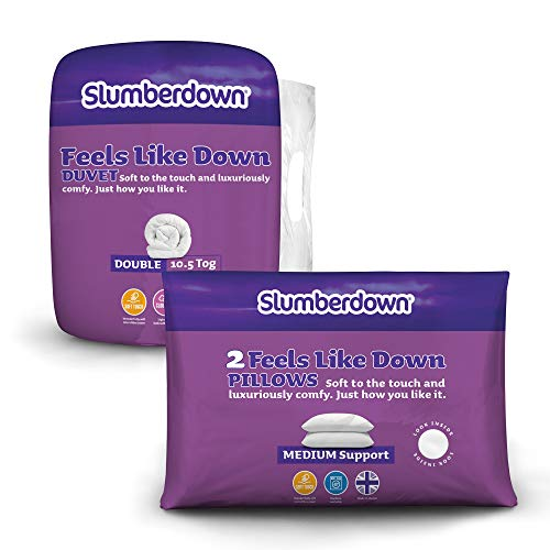 Slumberdown Feels Like Down 10.5 Tog All Year Round Duvet + 2 Medium Support Pillows, Double