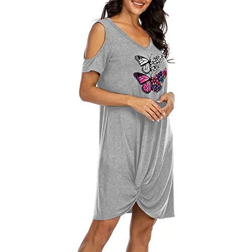 Yowablo Kleid Frauen Mode trägerlos Binden Sie den Knoten V-Ausschnitt Kurzarm Freizeitkleid (XXL,10Grau)