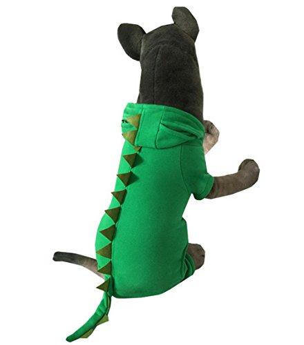 Selmai Costume de dinosaure pour chien avec capuche en polaire Vert automne, taille XXL