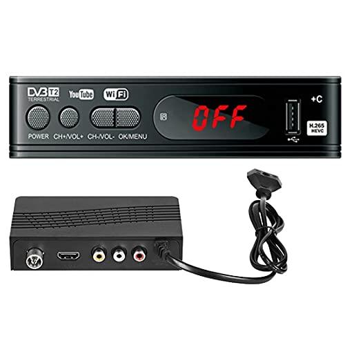 Convertidor de TV digital - DVB-T2 TV Top Box/Sintonizador/Caja de antena de TV con sintonizador de TV, grabación/reproducción PVR, reproductor multimedia USB, HDMI