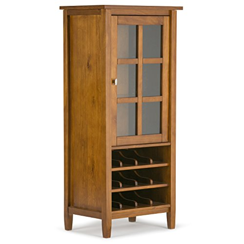 Simpli Home Warm Shaker Solid Wood High Storage Wine Rack, Honey Brown