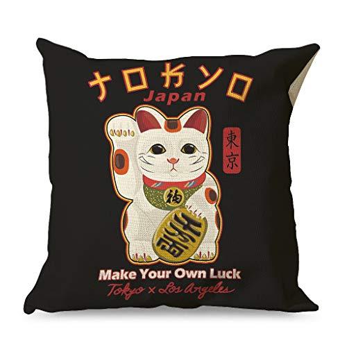 Zhenxinganghu Fundas de cojín decorativas con diseño de gato japonés de la suerte, transpirables, con cremallera, para oficina, estilo elegante, color blanco, 45 x 45 cm