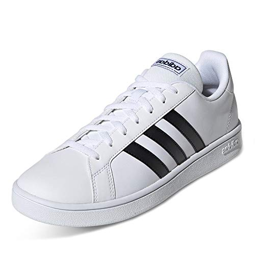adidas Grand Court Base, Scarpe da Tennis Uomo, Bianco Ftwr White Core Black Dark Blue, 41 1/3 EU