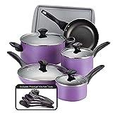 Farberware Dishwasher Safe Nonstick Cookware Pots and Pans Set, 15 Piece, Purple