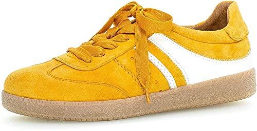 Gabor Damen Sneaker, Frauen Low-Top Sneaker,Best Fitting,Optifit- Wechselfußbett, Woman Freizeit leger Halbschuh schnürer,Mango/Weiss,39 EU / 6 UK