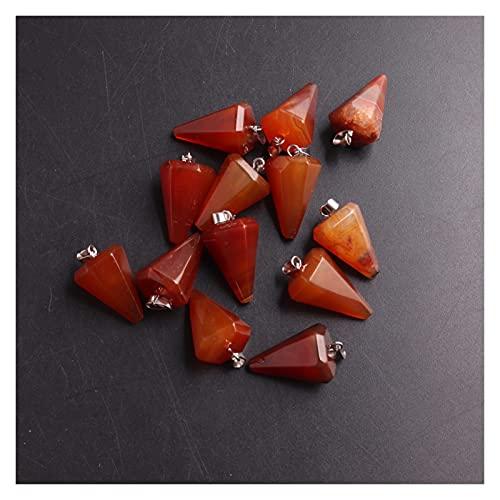 YTNGYTNG Colgante de Cristal 24/50 PCS/Lot Piedra Natural CHERLIAN CERRALIAN Cherry CHARMZ CHILMS COLLANTES para EL COLLAJE PENDOLUM FACETADO (Metal Color : Carnelian 24PCS)