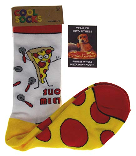 Pizza Bundle - Slice To Meet You Pizza Socks &'Yeah, I'm into Fitness - Fitness Whole Pizza In My Mouth' Magnet
