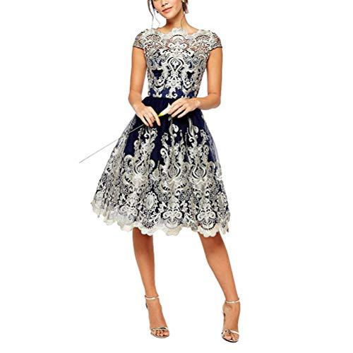 Vestido de renda floral retrô bordado vazado vestido formal com mangas cavadas para festa à noite baile de madrinha - azul royal (P)