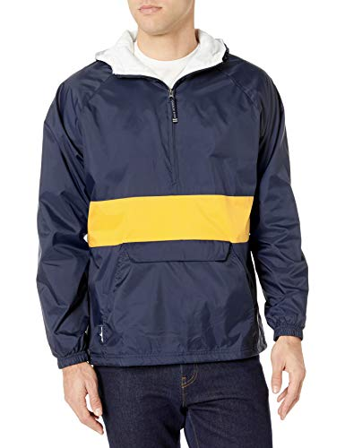 Charles River Apparel Wind & Water-Resistant Pullover Rain Jacket (Reg/Ext Sizes), Navy/Gold, M