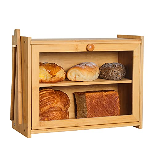 TUILFUL Bamboo Bread Box for Kitchen Counter Large Capacity Bread Storage Adjustable Layer Bin Bread Container with Toaster Tong Front Clear Window Bread Holder