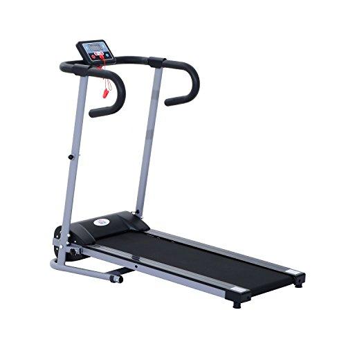 HOMCOM Cinta de Correr Plegable y Eléctrica de 500W para Fitness 1-10Km/h con Pantalla LCD y Carga Máx. 110 kg Negro y Gris