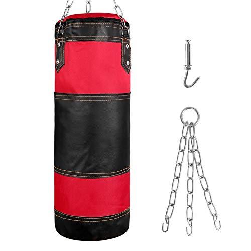 Odoland Sac de Frappe Professionnel Ultra résistant pour enfant, [60cm * 14cm], avec Suspension support Plafond, Sac de Boxe sans Sables Rempli Lourd Equipement d'Entraînement MMA Muay Thai Kickboxing