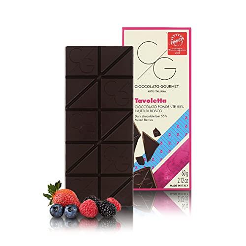 CG Tableta de Chocolate Gourmet, Chocolate Negro 55% con Bayas, 60g