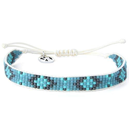 KELITCH Pulseras de perlas para mujer, pulseras de cuerda de cera, cuentas Miyuki, joyería de la amistad para el verano