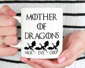 Madre de dragones regalo del día de la madre taza de café 11oz de hija mamá regalos para mamá regalos de hijo regalo de esposo regalo de niños