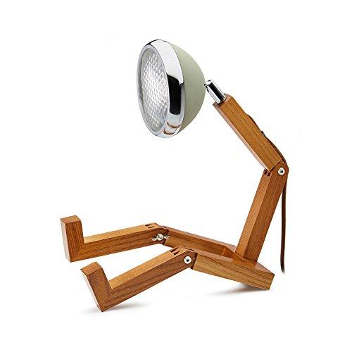 Mr. Wattson, die flexible Eschenholz Tischlampe in wüstengrün - Aluminium mit LED Leuchtmittel