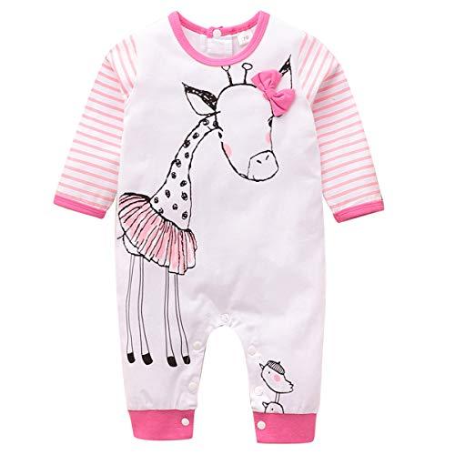 Kleinkind Mädchen Strampler Baby Cartoon Löwe/Giraffe Overall Langarm Overalls Neugeborene Langarm Baumwolle Strampler, Weiß + Pink, 0-6 Monate