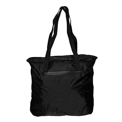 Otaria Lightweight Packable Tote Bag – Water Resistant Folding Travel Bag, Black