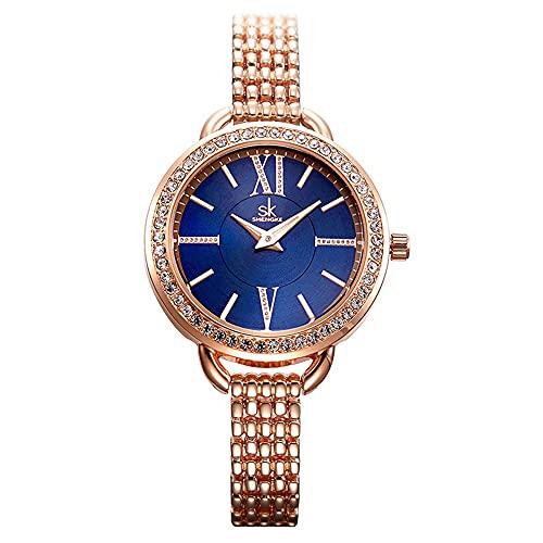 YIBOKANG Señoras Delicadas Moda Luz De Lujo Diamante Número Romano 30M Banda De Acero Fina Impermeable Reloj De Cuarzo Personalidad Creativa Regalo De Cumpleaños Reloj De Moda