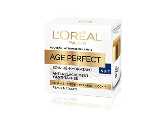 L'Oréal Paris - Age Perfect - Soin Nuit Ré-Hydratant - Anti-Relâchement & Anti-Tâches - Peaux Matures - 50 mL