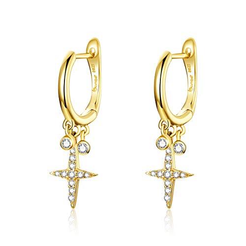 Pendientes de aro para mujer, de plata de ley 925, chapados en oro, con forma de cruz, hipoalergénicos, regalo para mujeres y niñas