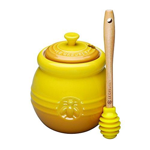 Le Creuset Bote para miel de cerámica de gres con espátula, Amarillo Dijon