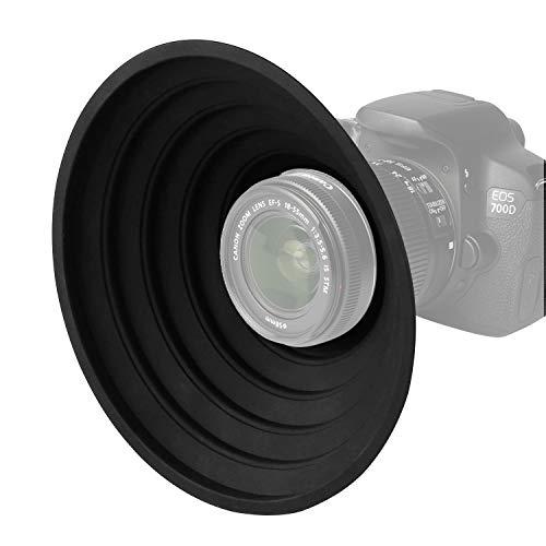 Silikon Kamera Gegenlichtblende für 3-7cm Objektiv, Streulichtblende Anti-Glas Reflektierende Reduziert Objektiv Flare und Blöcke überschüssiges Sonnenlicht (groß)