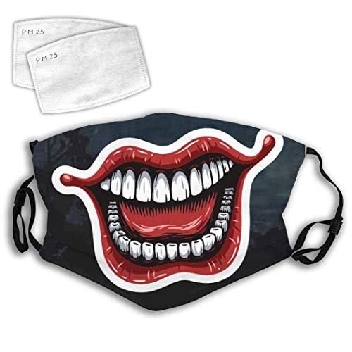 Tengyuntong Mundschutz Lachende Jokerlippen Einstellbare Anti-Staub-Gesichtsbedeckung Mundbedeckung Schal Halloween Radfahren Camping Erwachsene Jungen Mädchen Weiß 527