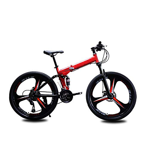 nonbrand 21 Speed Folding Mountain Bike Bicycle 26-inch Male and Female Students Shift Double Shock Absorber Adult Commuter Foldable Bike Dual Disc Brakes
