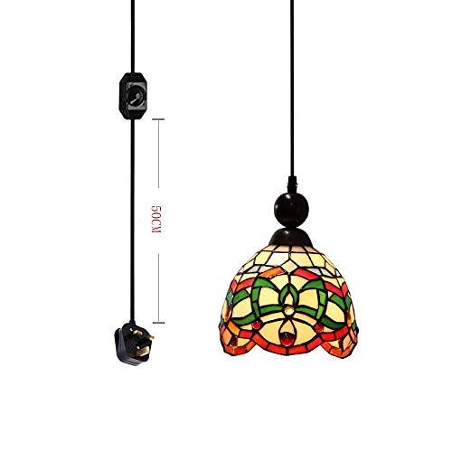 QTWW Lámpara Colgante de Estilo Pantalla de Cristal Colorida con Interruptor de atenuación de Enchufe de 4,5 m Certificado por CE Cable Negro para Restaurante, Cocina, Bombillas no Incluidas
