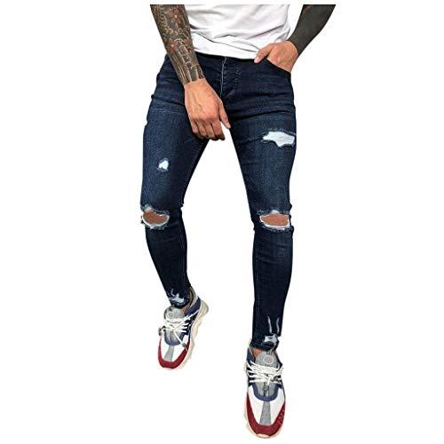 Pantalones Vaqueros Hombre, SUNNSEAN Elasticos Color Liso Originales Slim Fit Skinny Pantalones Deportivos Personalidad Denim Pantalón Pitillo Pants Verano Pantalones