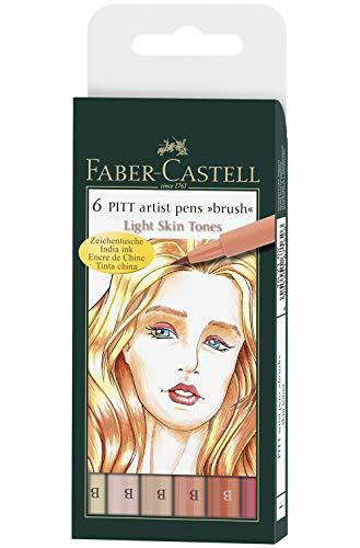 Faber-Castell 167162 - Tuschestift Pitt artist pen Skin, 6er Packung, Stärke: B