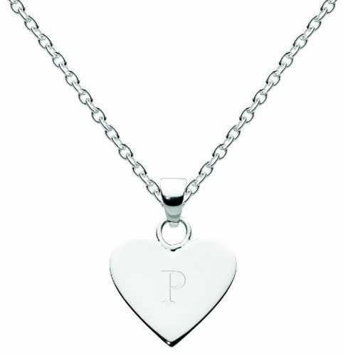 Dew Sterling Silver Heart Initial P Necklace of 45.7cm