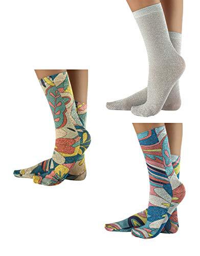 CALZITALY 3 Paar Glänzende Socken mit Muster | Golden und Silber Druck Lurex Strümpfe | Made in Italy (Einheitsgröße, Blumenmuster)