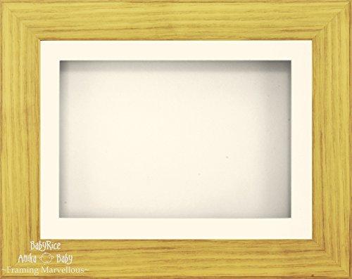 BabyRice Anika-Baby 29,2 x 21,6 cm Effet chêne Cadre 3D/1 Trou Passe-Partout crème