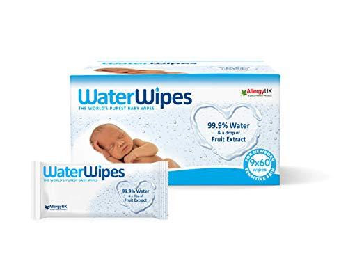 WaterWipes Toallitas para Pieles Sensible de Bebé, 99.9% agua purificada, No biodegradable, 60 Unidad (Paquete de 9)