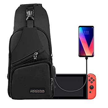 EEEKit Backpack Crossbody Travel Bag for Nintendo Switch Console Joy-cons and Accessories Charge Your Phone Via Side USB Charging Interface