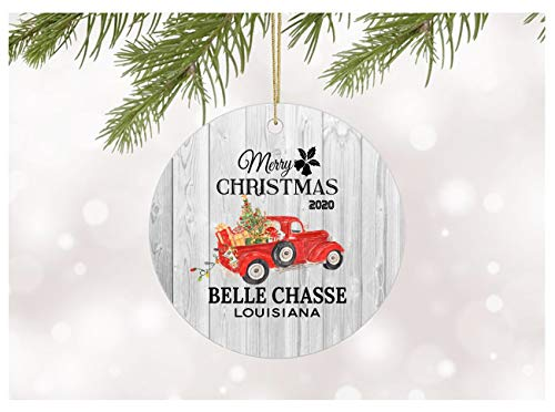 Family Christmas Ornament 2020 Belle Chasse Louisiana Ornament With State Name Printed Gift Xmas Decor Merry Christmas Decorations For Home Ceramic Xmas Tree Ornaments Circle 3'