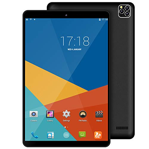 10.1 inch Tablet, Android Tablets 9.0 Pie IPS HD Display, Quad-Core Processor, with Dual SIM, WiFi 3GB RAM 32GB Storage, Dual Camera (Black)