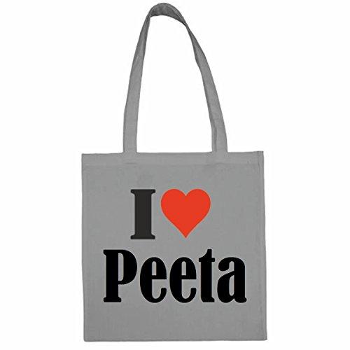 Tasche I Love Peeta Größe 38x42 Farbe Grau Druck Schwarz