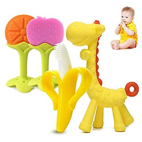 Baby-beißring, 4pcs Natural Silicone Baby Beißring Spielzeug, Soft Sensory BPA Free Backenzähne Schnuller Beißring Massage, Ungiftig, Weich, Langlebig Und Gefrierschrank Beißring für Jungen, Mädchen