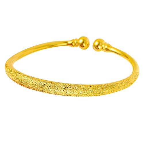 Holibanna Gold Armreifen Offene Manschette Armband Chinesische Traditionelle Armbänder Schmuck Geschenk für Braut Frauen Mädchen Baby Neugeborene (6N Babysbreath Stil) (6411447572069)