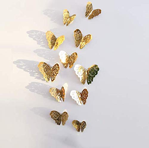 Adhesivo de pared 3D con diseño de mariposas huecas para decoración de pared, decoración de habitación o hogar, guardería, aula, oficina, oro, 36 piezas